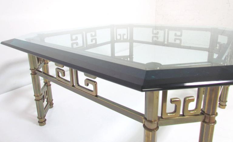 Mastercraft Coffee Table in Brass with Greek Key Motif and Octagonal Glass Top For Sale 2