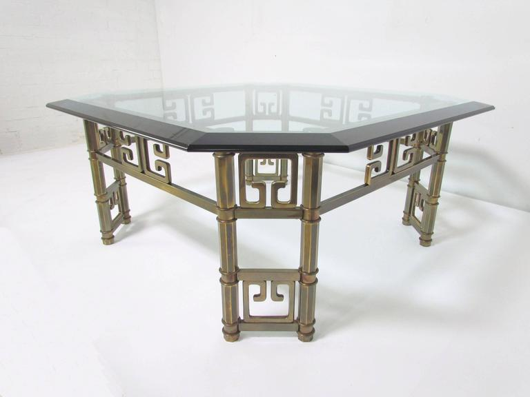 Mastercraft Coffee Table in Brass with Greek Key Motif and Octagonal Glass Top In Good Condition For Sale In Peabody, MA