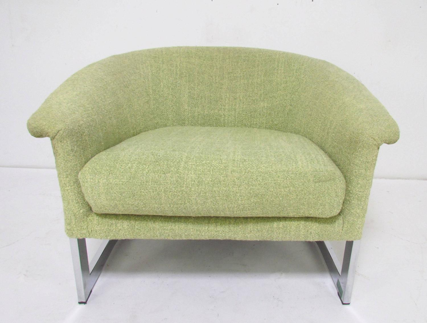 Italian Barrel Lounge Chair with Chrome Frame in the ...