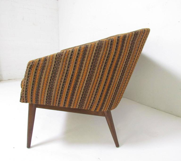 Danish modern mid century loveseat settee sofa circa for Danish modern settee