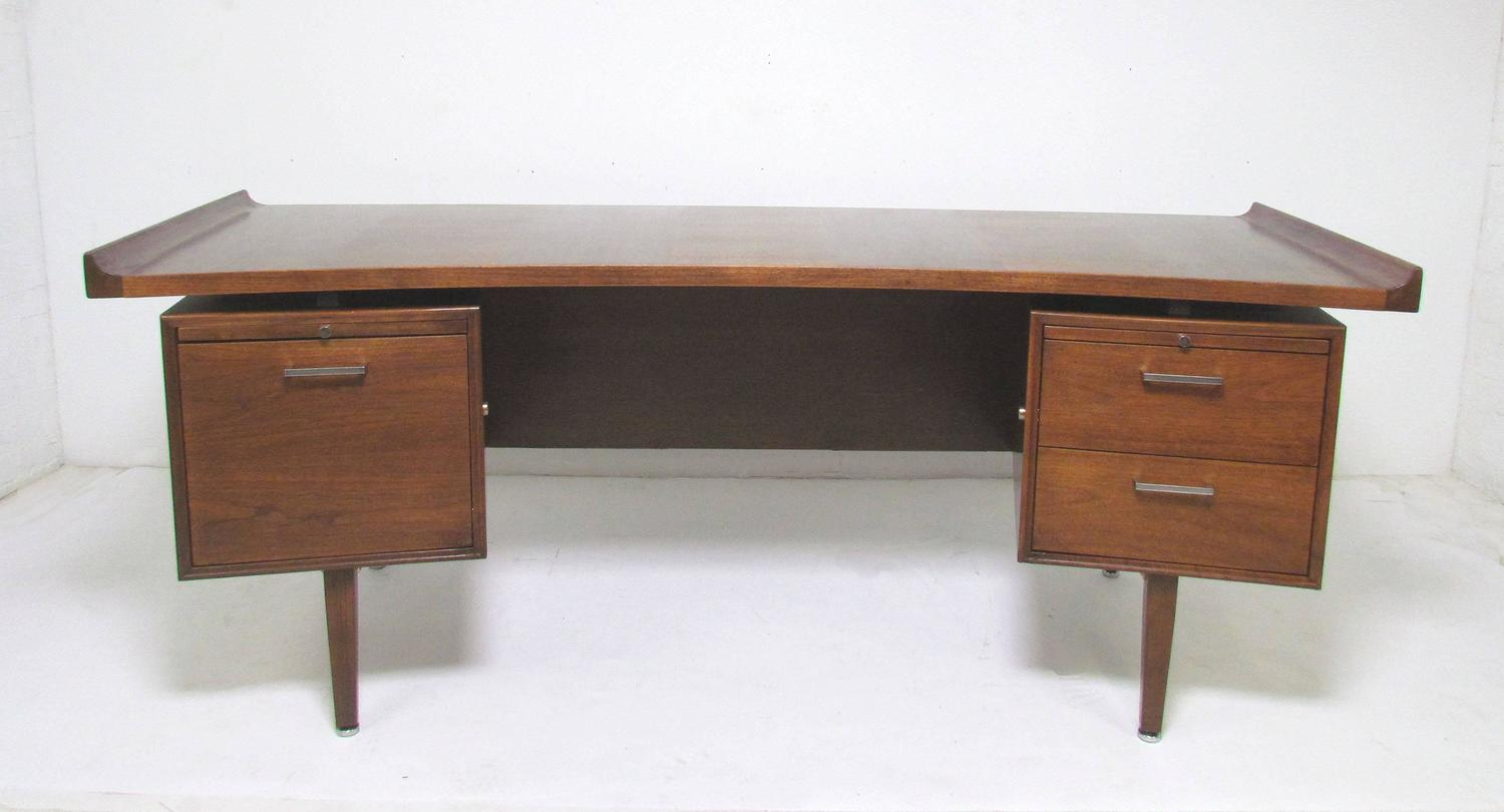 Mid Century Modern Executive Desk with Elliptical Top by