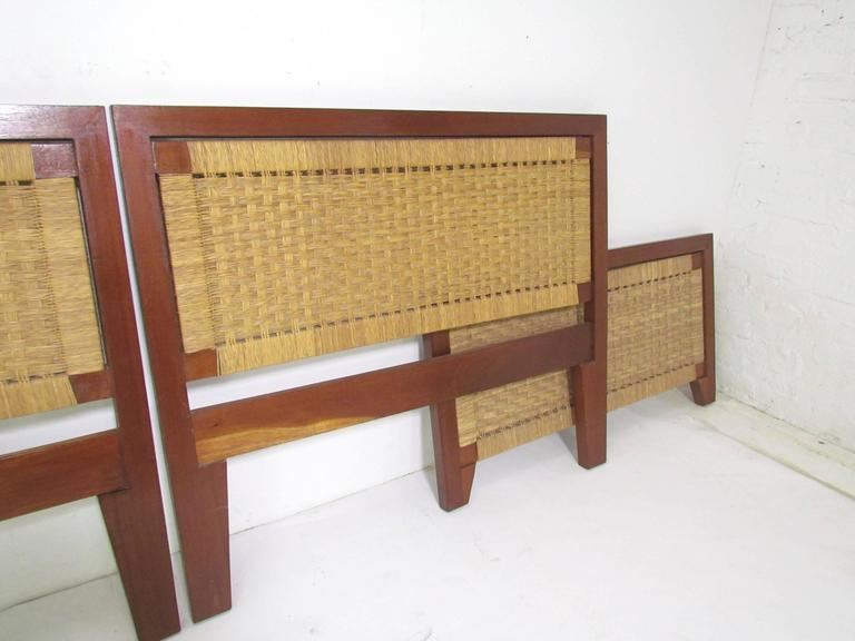 Pair of Mexican Mid-Century Single Beds with Handwoven Cane, circa 1950s In Excellent Condition In Peabody, MA