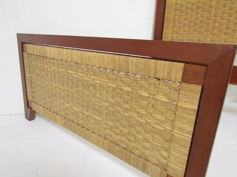 Mid-20th Century Pair of Mexican Mid-Century Single Beds with Handwoven Cane, circa 1950s