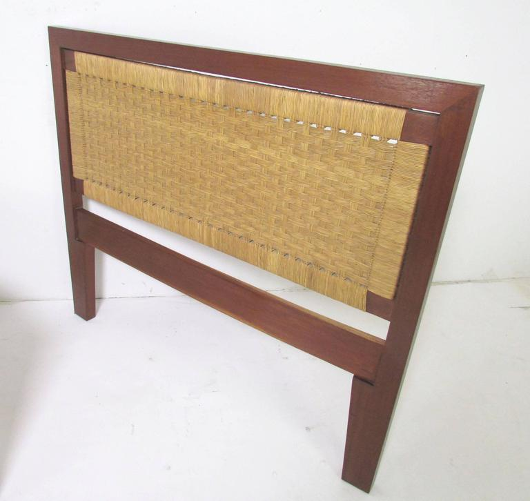 Mid-Century Modern Pair of Mexican Mid-Century Single Beds with Handwoven Cane, circa 1950s