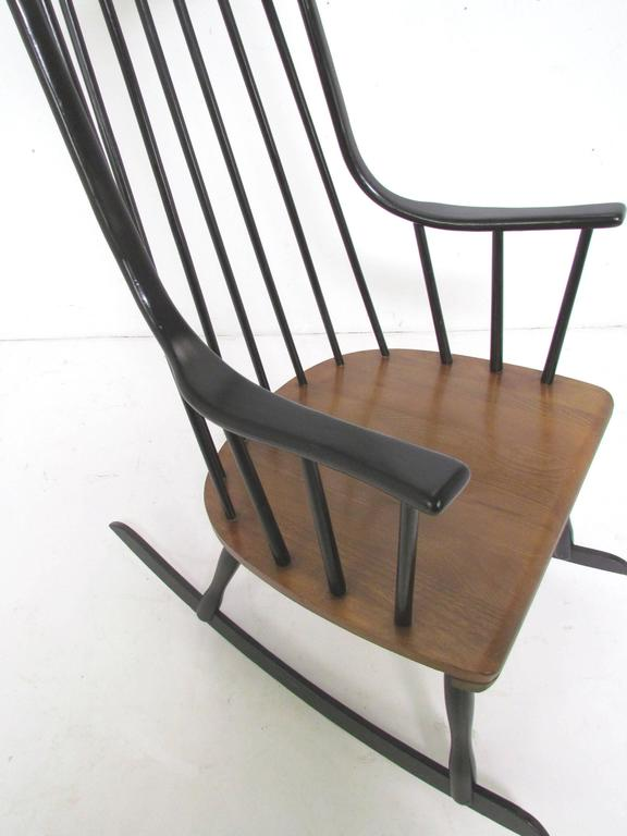 Mid-Century Danish Modern Scandinavian Rocker by Lena Larsson, circa 1960s In Good Condition In Peabody, MA