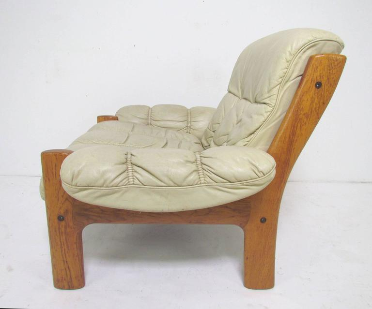 Oversize Lounge Chair, Teak Frame With Original Leather Upholstery, By J.E.  Ekornes, Norway