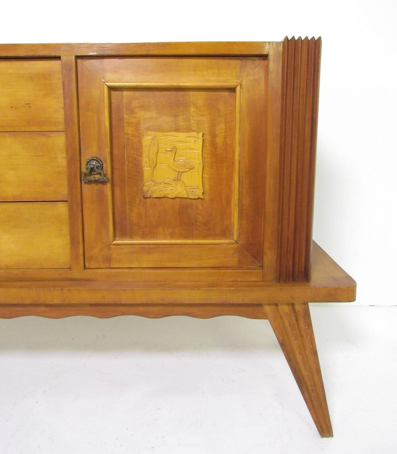 italian art deco sideboard with hand carved decorative panels circa 1940s for sale at 1stdibs. Black Bedroom Furniture Sets. Home Design Ideas