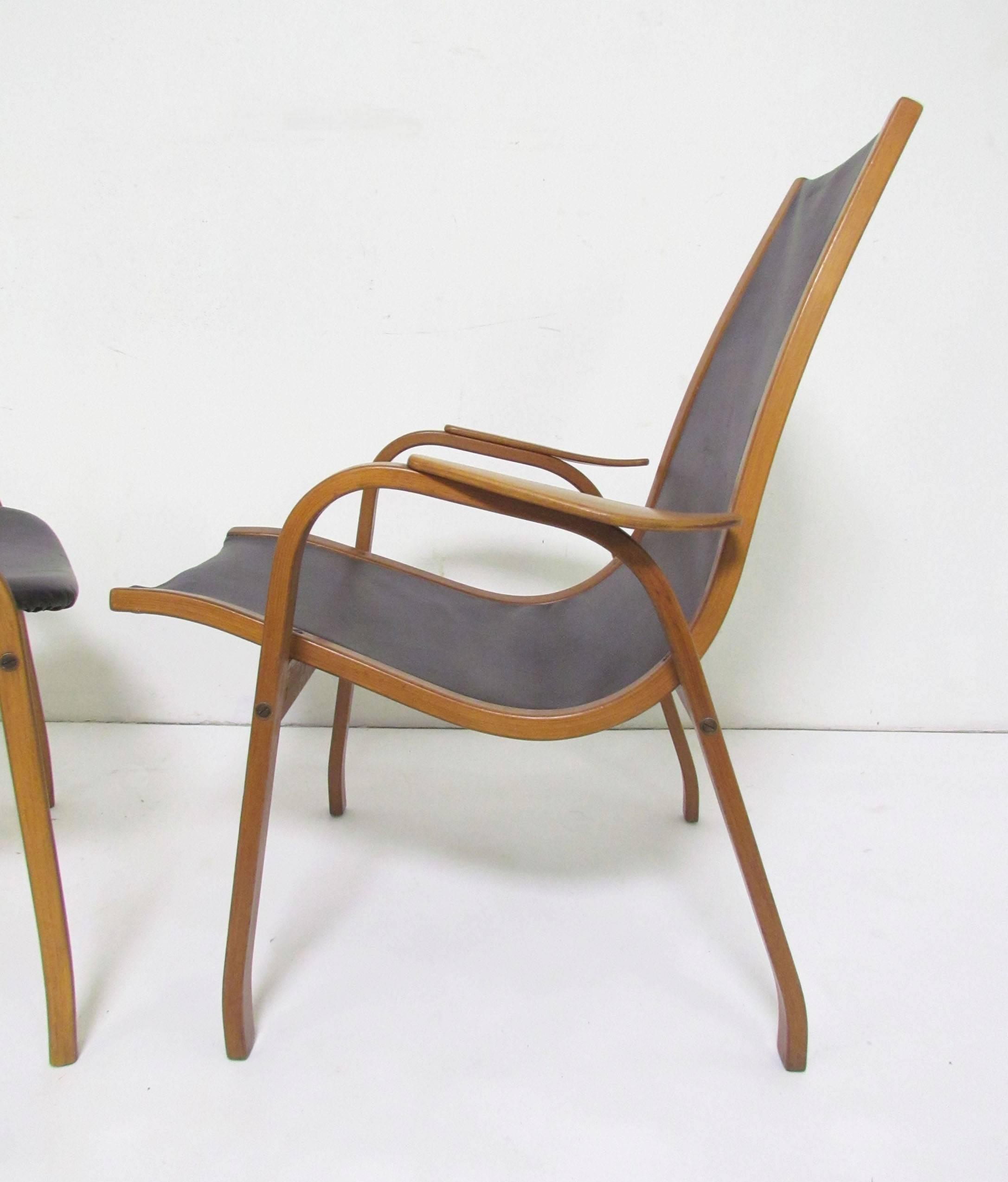 Yngve Ekstrom Lamino Leather Lounge Chair And Ottoman, Sweden, Circa 1950s 2