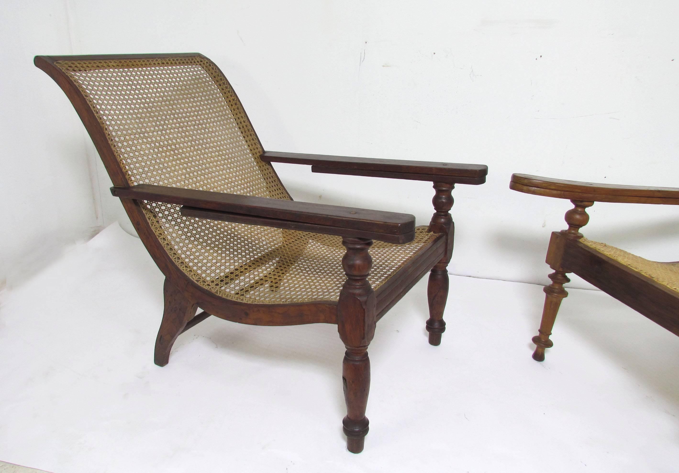 Indian Antique Paddle Arm British Colonial Plantation Lounge Chairs For Sale