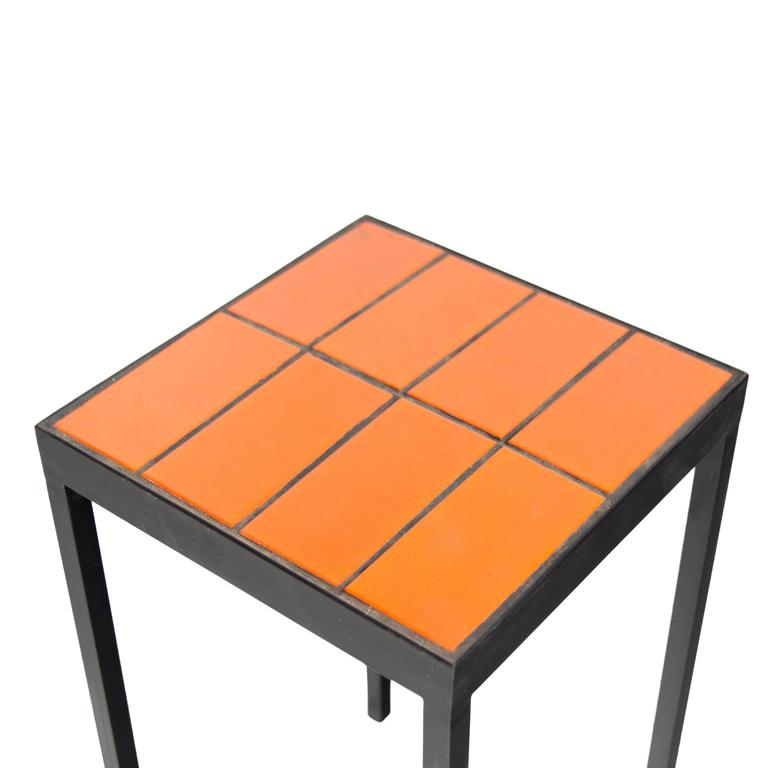 Tile Side Table by Thomas Hayes Studio In Excellent Condition For Sale In Hollywood, CA