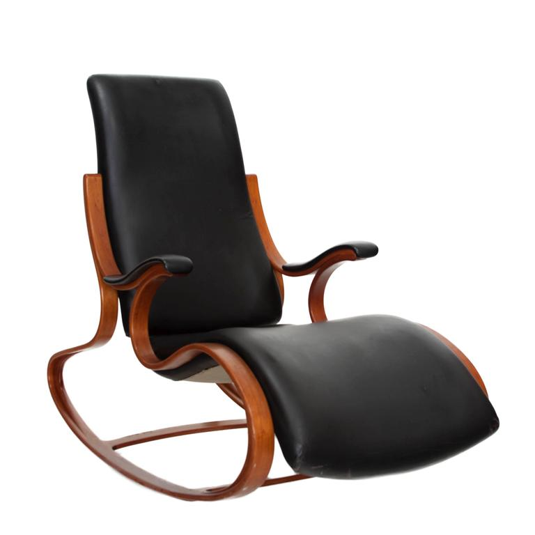 Studio Made Handcrafted Bent Wood & Black Leather Rocking Chair by Mark Henion 2