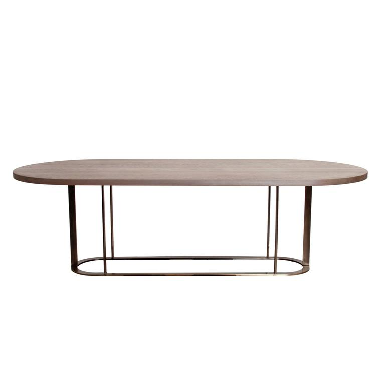 Coyler Dining Table with Solid Bronze Base by Thomas Hayes Studio