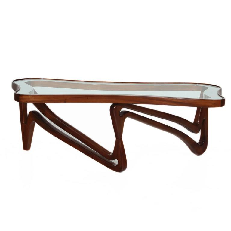Curved Solid Peroba De Rosa And Glass Coffee Table Attributed To Scapinelli At 1stdibs