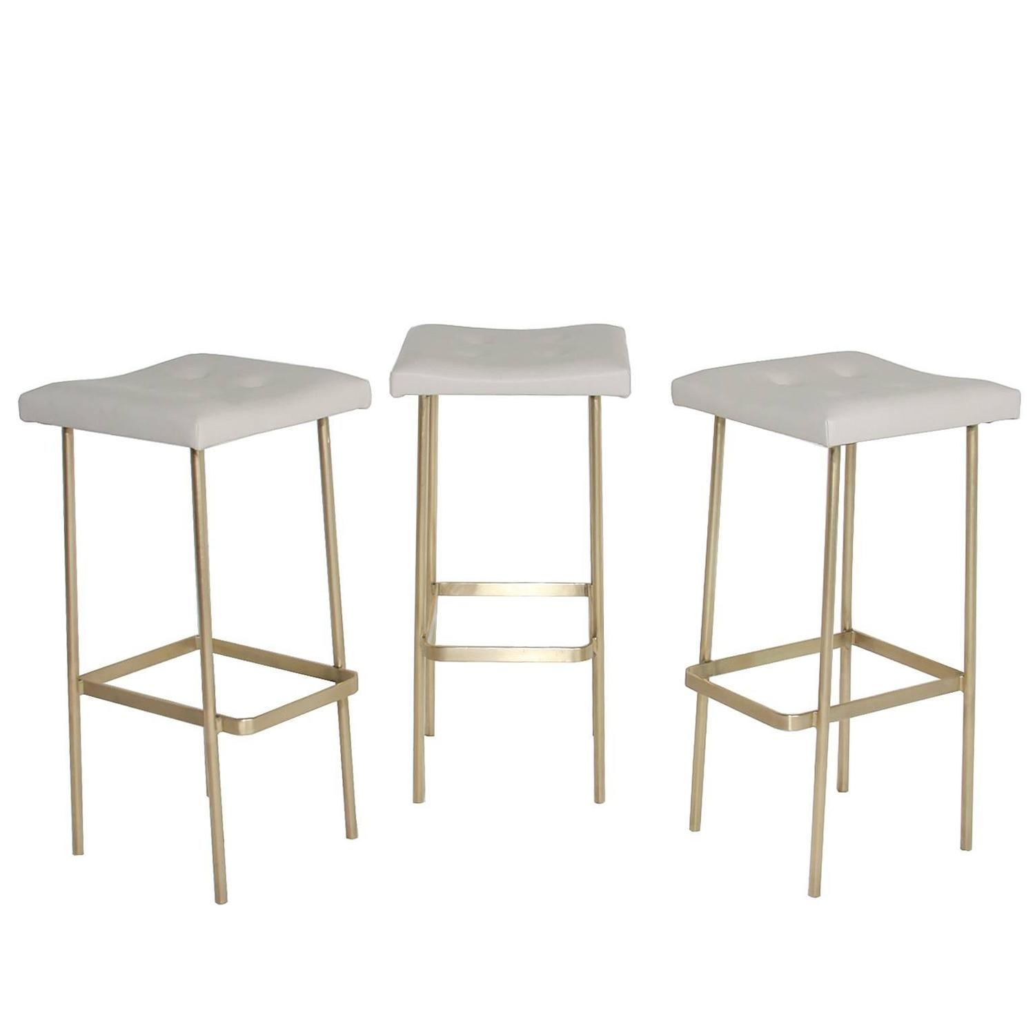Leather Bundinha Stool With Brass Base By Thomas Hayes