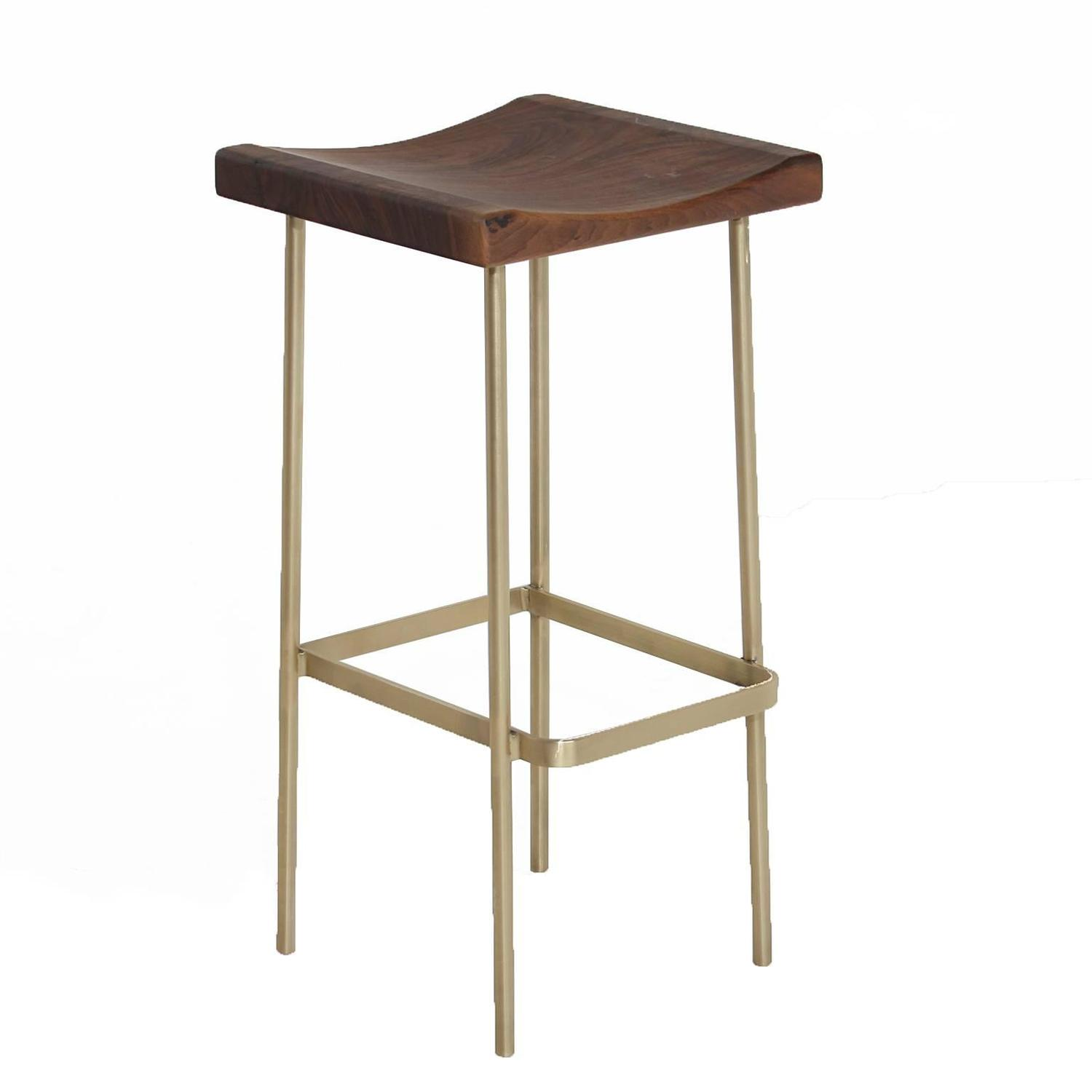 Bundinha Stool With Brass Base By Thomas Hayes Studio For