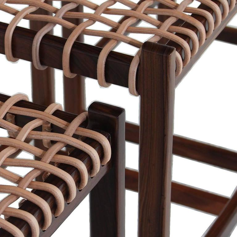 The Leather Cord Stool by Thomas Hayes Studio For Sale 4