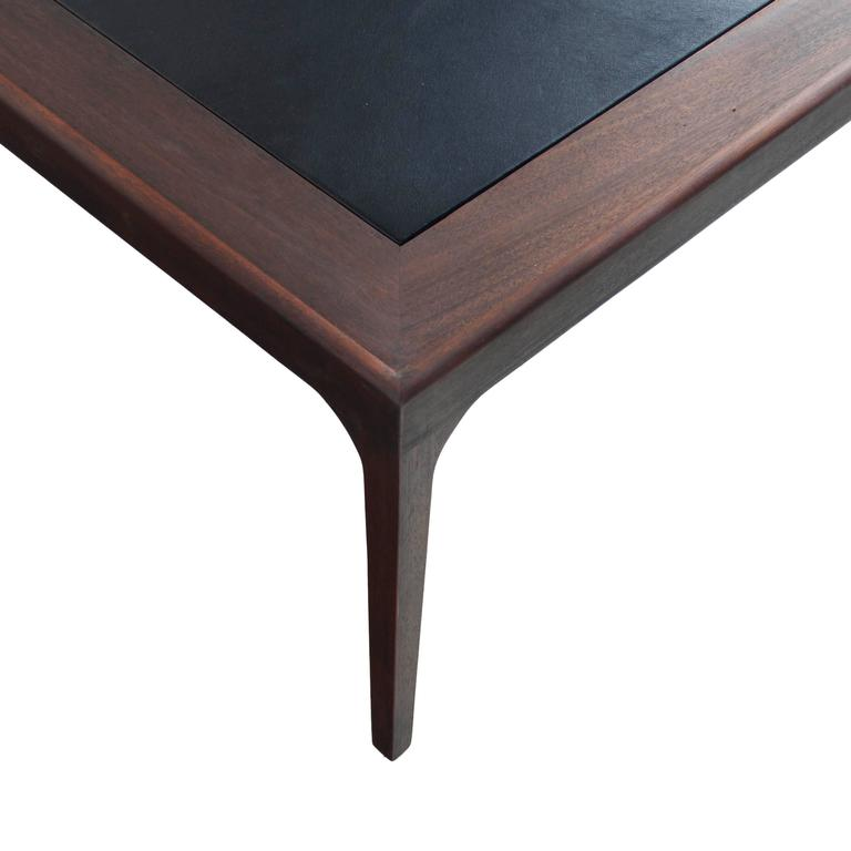 Mid Century Coffee Table Black: Mid-Century Mahogany Coffee Table With Inset Black Leather