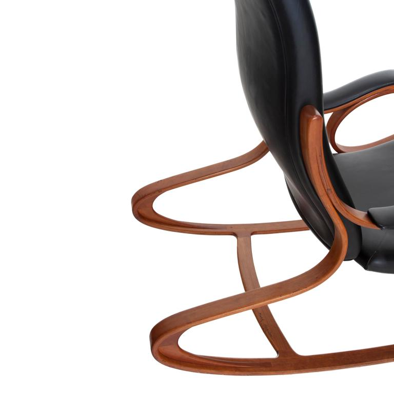 Studio Made Handcrafted Bent Wood & Black Leather Rocking Chair by Mark Henion 5