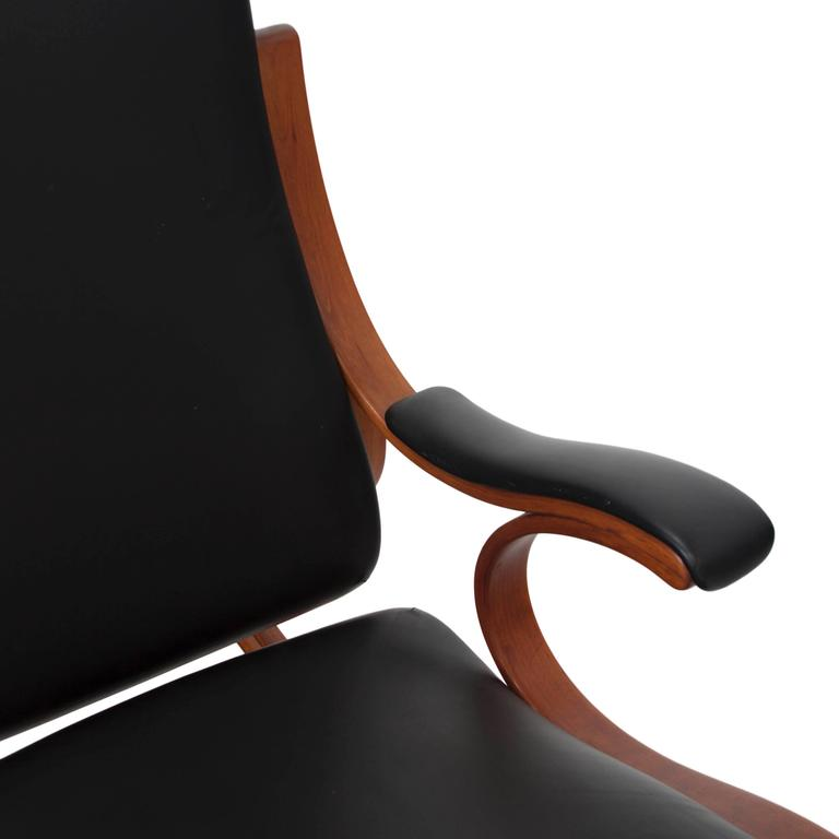 Studio Made Handcrafted Bent Wood & Black Leather Rocking Chair by Mark Henion 6
