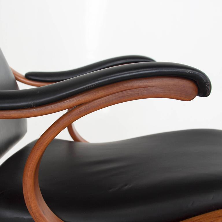 Studio Made Handcrafted Bent Wood & Black Leather Rocking Chair by Mark Henion 7