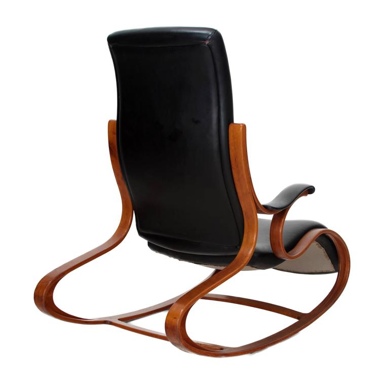 Studio Made Handcrafted Bent Wood & Black Leather Rocking Chair by Mark Henion 3