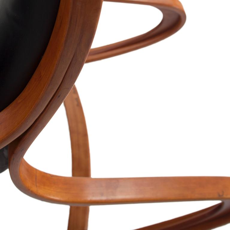 Studio Made Handcrafted Bent Wood & Black Leather Rocking Chair by Mark Henion 9