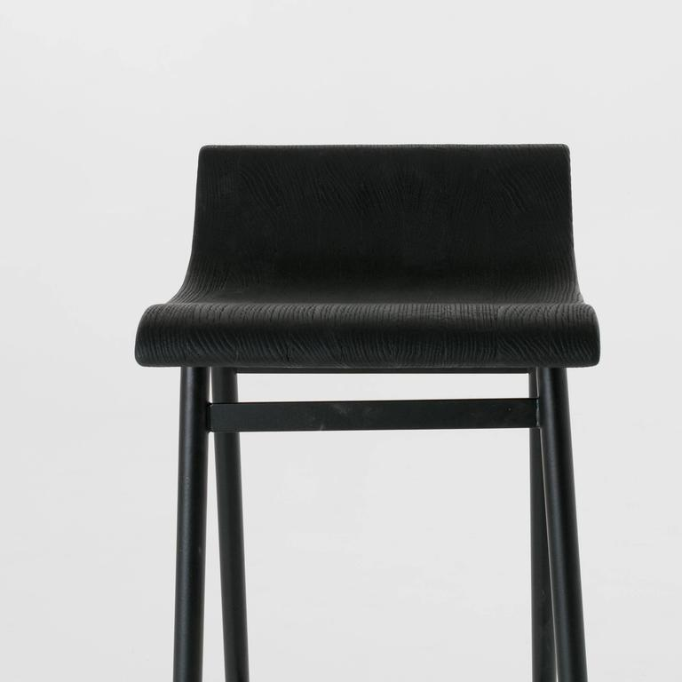 Wood Gachot Bar Stool with Steel Base by Thomas Hayes Studio In Excellent Condition For Sale In Hollywood, CA