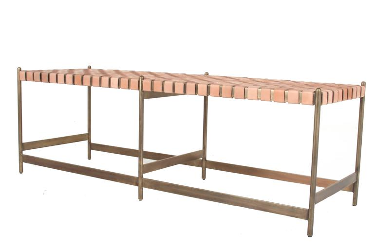 Leather Strap Metal Bench By Thomas Hayes Studio For Sale