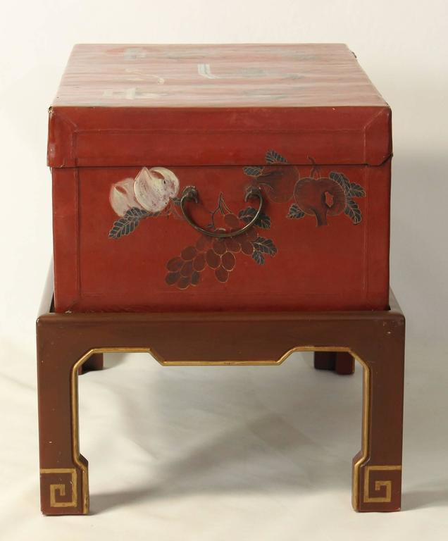 Hand-Painted Chinese Trunk on Stand In Good Condition For Sale In Kilmarnock, VA