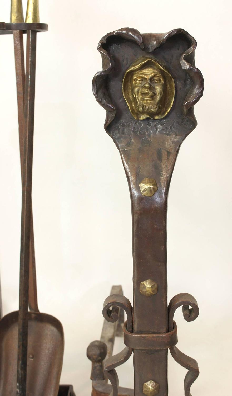 Set Of Hand Forged Steel And Gilt Brass Andirons And Fire Tools For Sale At 1stdibs
