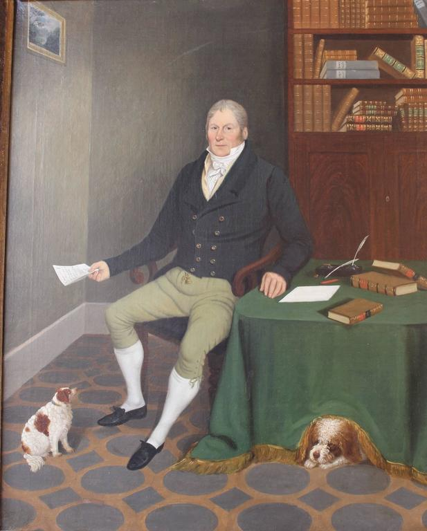 Regency Exceptional Painting of a Gentleman and His Dogs For Sale