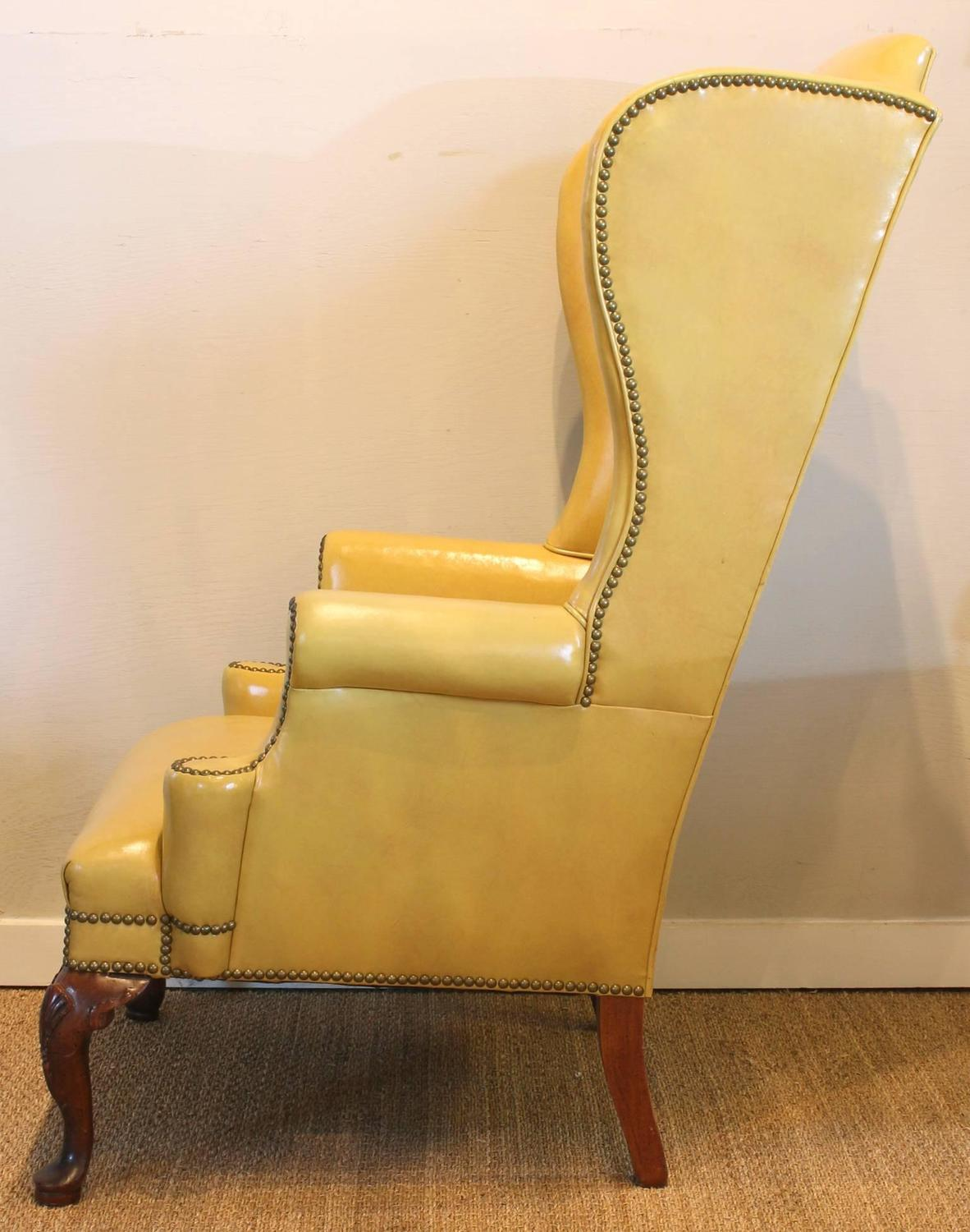 Yellow leather chair Sofa 1stdibs Mustard Yellow Leather Wing Chair At 1stdibs