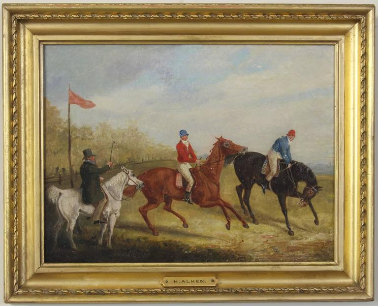 An exceptional pair of early 19th century English oil on canvas sporting paintings by Henry Thomas Alken (1785-1851) depicting a steeple chase with a provenance from Arthur Ackerman Gallery, New York.