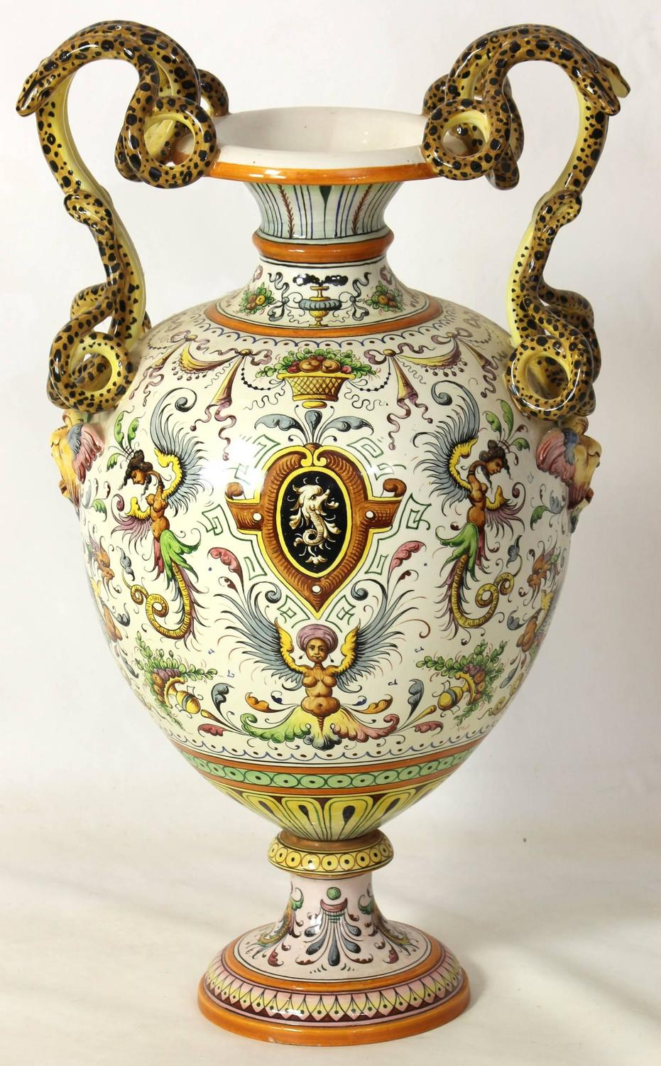 Large italian majolica urn for sale at 1stdibs - Large decorative vases and urns ...