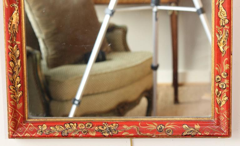 Scarlet Chinoiserie Decorated Queen Anne Style Mirror In Excellent Condition For Sale In Kilmarnock, VA