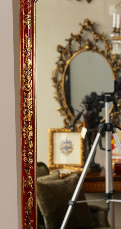 Mid-20th Century Scarlet Chinoiserie Decorated Queen Anne Style Mirror For Sale