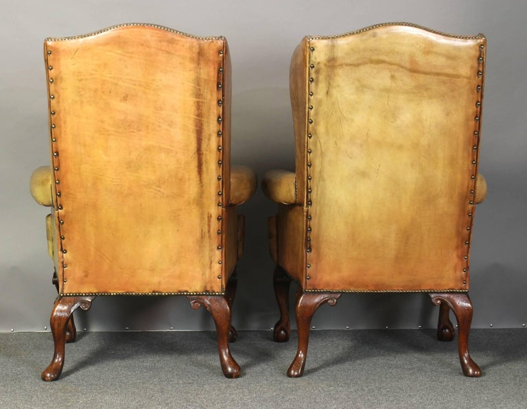 Pair of Vintage Leather Wing Chairs 4