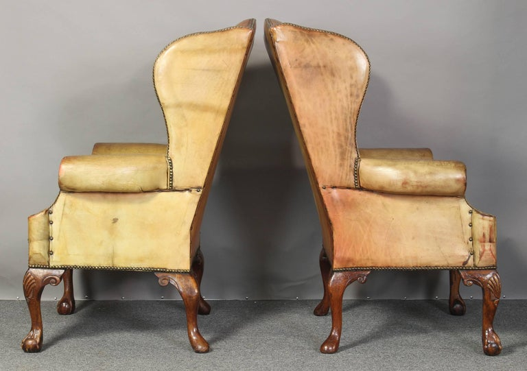 Pair of Vintage Leather Wing Chairs 5