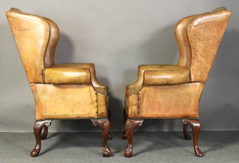 Pair of Vintage Leather Wing Chairs 3