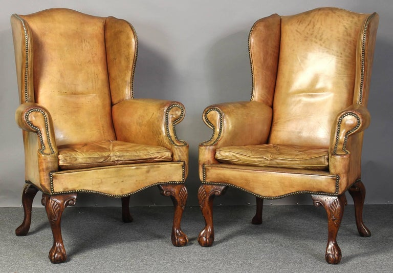 Pair of Vintage Leather Wing Chairs 2