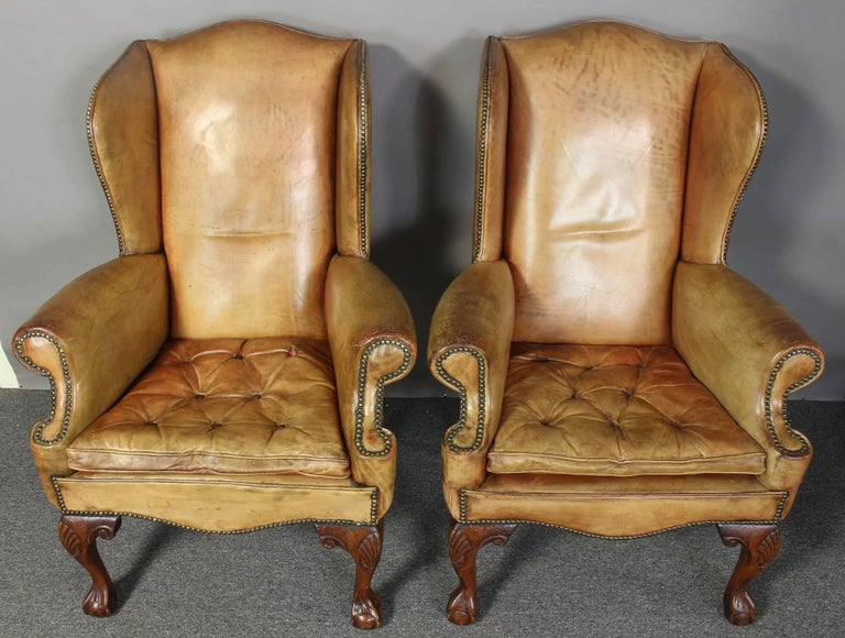 Pair of Vintage Leather Wing Chairs 6