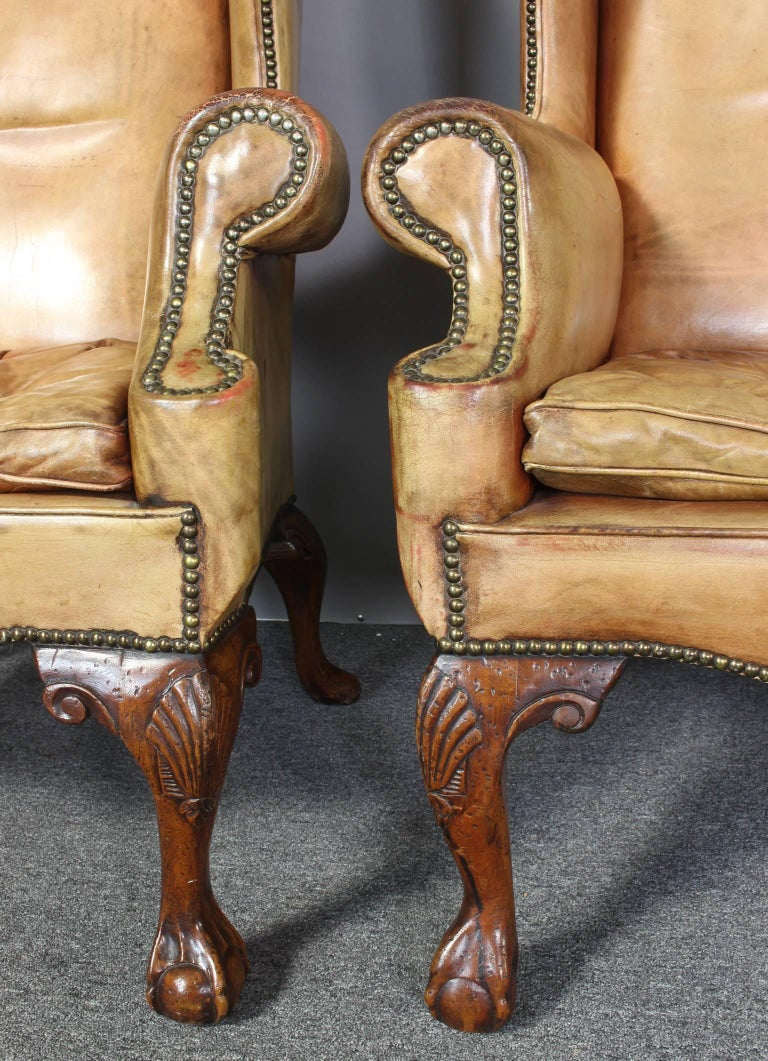 Pair of Vintage Leather Wing Chairs 8