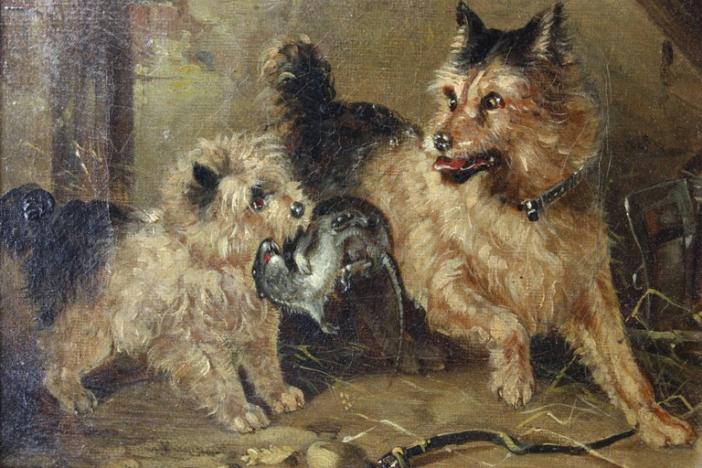 19th Century Oil on Canvas Dog Painting 3