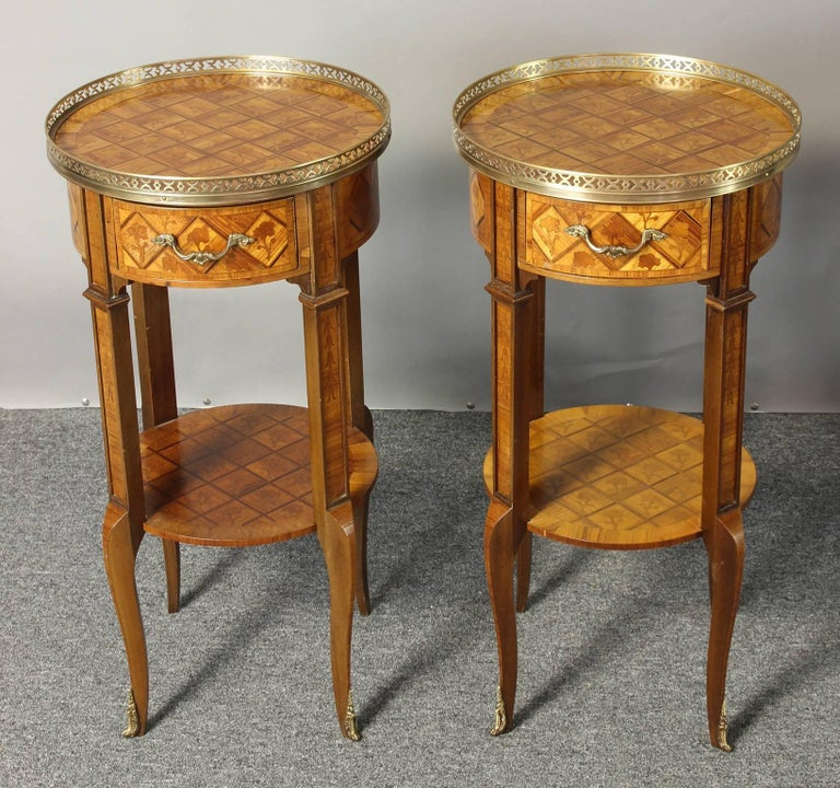 Pair of French Marquetry Side Tables 3