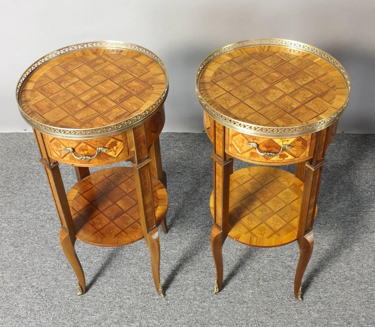 Pair of French Marquetry Side Tables 4