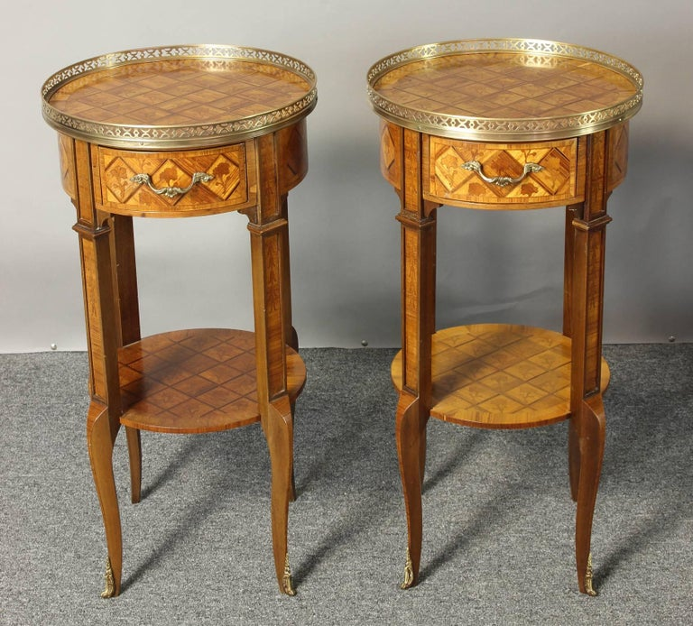 Pair of French Marquetry Side Tables 2