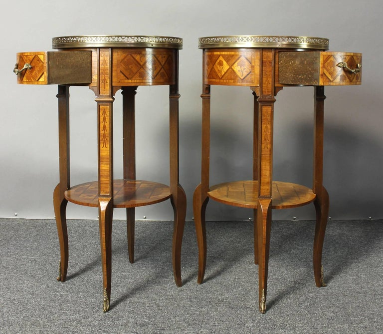 Pair of French Marquetry Side Tables 6