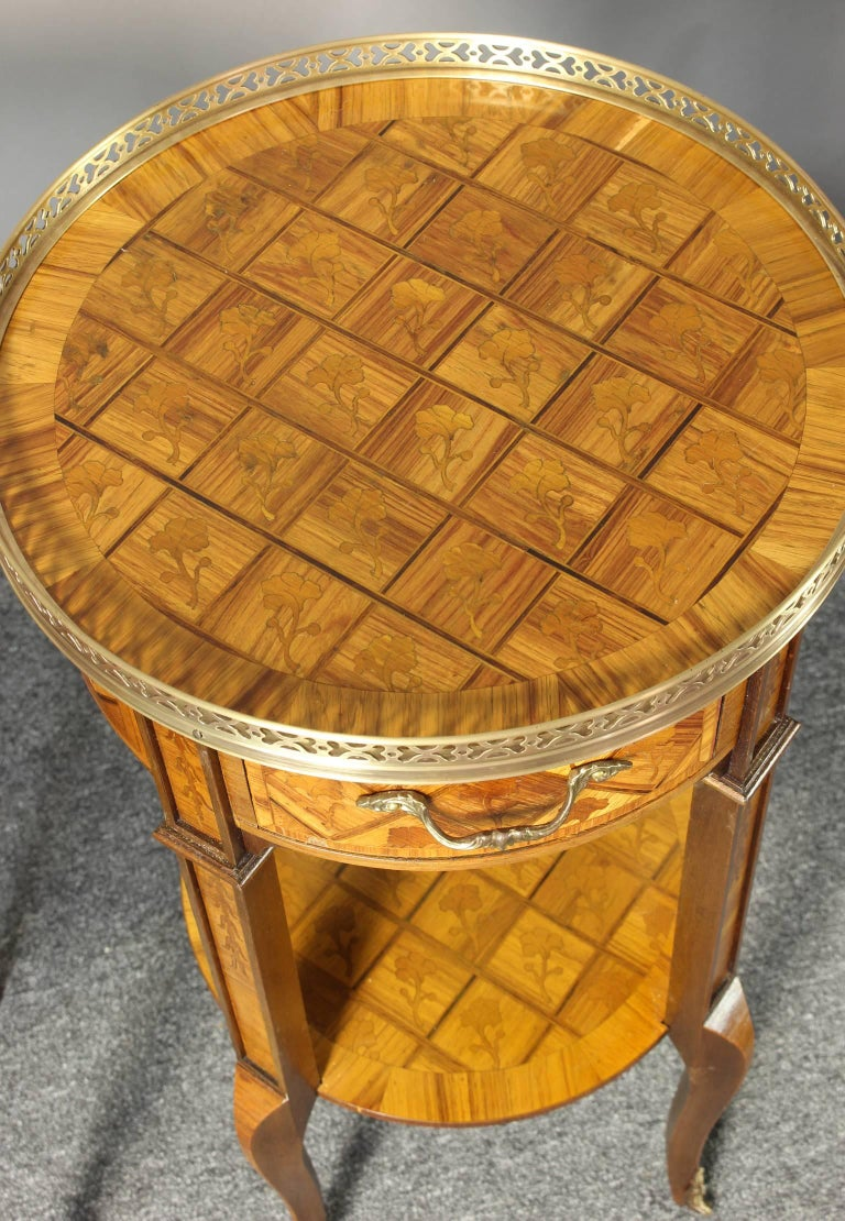 Pair of French Marquetry Side Tables 8