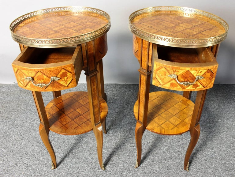 Pair of French Marquetry Side Tables 5
