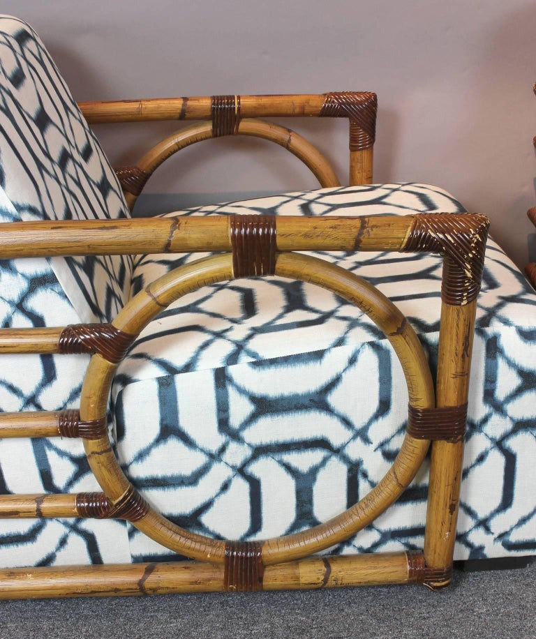Pair of Art Deco Inspired Rattan Lounge Chairs 8